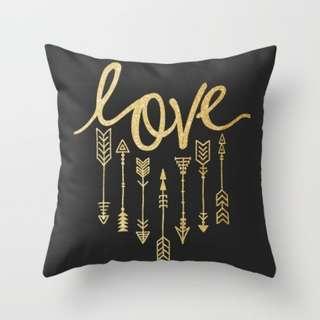 Love Arrows Throw Pillow Cushion Cover (Black)