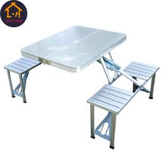 Portable Picnic Table Set (Silver)