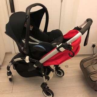 Bugaboo Bee Plus luxury red stroller + car seat BB車 嬰兒車 + 汽車座椅