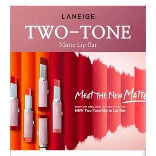 LANEIGE two tone matte & tint lip bar
