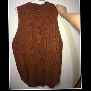 暖色款針織麻花前短後長背心