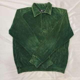 🚚 (全館八折)古著絨布綠綠polo衫