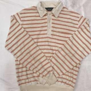 🚚 (全館八折)古著絨布橘條紋polo衫