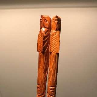 中古時代3雙竹製雕刻有鳳造型筷子