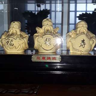 """""""Gold Plated"""" 福禄寿 In Acrylic Box"""