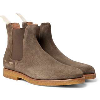 (INSTOCK) Common Projects Olive Waxed Suede Chelsea Boots