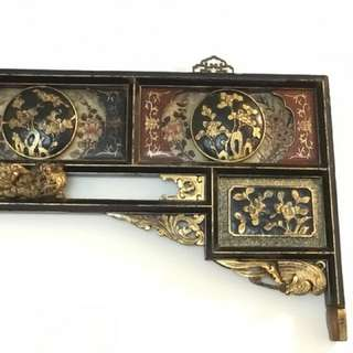 Antique Chinese / Nyonya gold leaf wood carved headboard