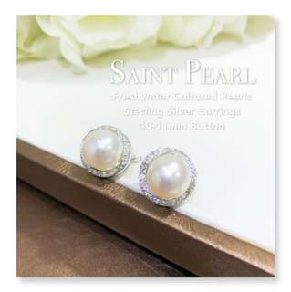 10-11mm Freshwater Cultured Pearls silver earring (YE-287/27)