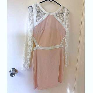 BNWT Keepsake the Label Size L fits 12 blush nude pink white lace backless dress