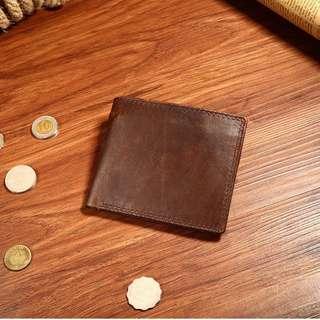 男士短款真皮錢包 頭層牛皮歐美時尚休閒錢夾瘋馬皮銀包