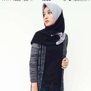 Jilbab 2tone abu-hitam