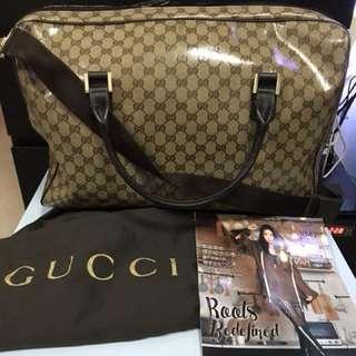 Gucci 防水料旅行手提/斜背兩用袋