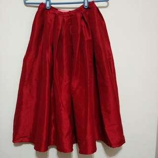 大紅好運 緞面質感蓬蓬裙