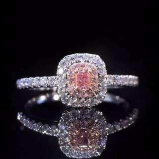 粉紅鑽石18k白金戒指💍全新可刻字情人節女朋友生日禮物
