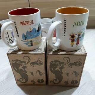 <SOLD> $10= 2 Starbucks Mug Indonesia & Jakarta