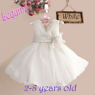 Instocks White Wedding Dress Flower Girl Dress Birthday Party