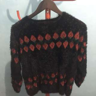 Fluffy Sweater (Black & Red)