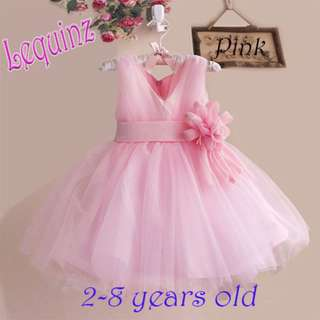Pink Wedding Dress Flower Girl Dress Birthday Party