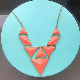 Coral Geometric Necklace