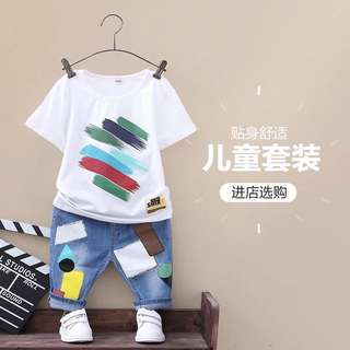 Boy's short-sleeved two-piece 3-5-6 years old