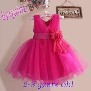 Hot Pink Wedding Dress Flower Girl Dress Birthday Party