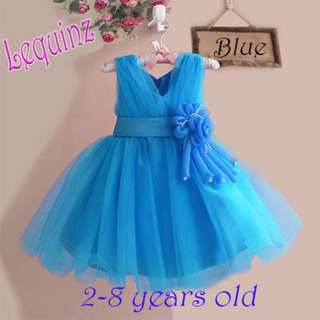 Sky Blue Wedding Dress Flower Girl Dress Birthday Party