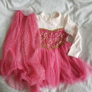 Elsa Frozen Pink fleece winter dress (90cm) princess with shaw