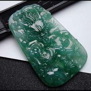 🎇Big!!! Grade A 冰糯 水润 Green Auspicious Dragon Jadeite Jade Pendant/Display🎇