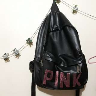 Pink Leather Bagpack