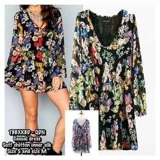 DVN0113 - Chiffon Flower Long Sleeve Dress