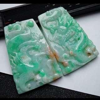 🎋Grade A 冰糯 Green 龙凤呈祥 Auspicious Dragon and Phoenix Jadeite Jade Pendant/Display🎁