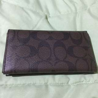 Authentic Coach Mahogany Brown Phone Case Signature Wallet