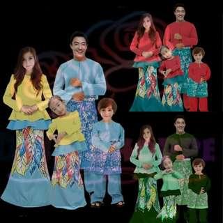 BAJU MELAYU PEPLUM RAYA FAMILY SET 4 (MUM/DAD/GIRL/BOY)