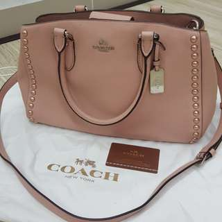 COACH Auth. Empire Carryall in Lacquer Rivets Pebble Leather
