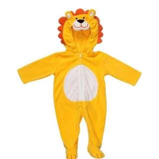 清倉價--勁可愛 carters 小獅子造型搖拉絨包腳夾衣 size 9m