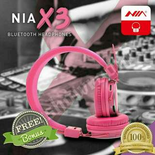 Lovely Pink. NIA Bluetooth Stereo Headset. Free Gifts With Every Purchase. 4in1 -  Bluetooth, Direct MicroSD Card Mp3 Playback, Stereo FM Radio, Aux Direct Connection