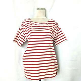 [plus size] Red Stripes Top