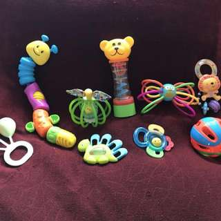 Assorted rattle toys