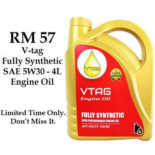 VTAG Fully Synthetic SAE 5W30 Engine Oil 4L (Limited Time Promotion)