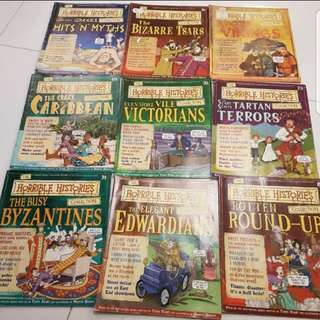 Set of 9 Horrible Histories Magazines Collection