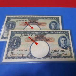 $1-1941-MALAYA 2PCS RUNNING A/UNC. ORIGINAL ..NO PRESSED NO WASH.
