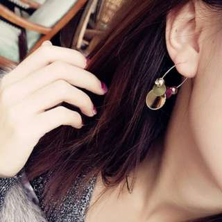 2018 1 Pair Korean Style Colorful Shinny Geometric Pendant Earrings Ear Circle