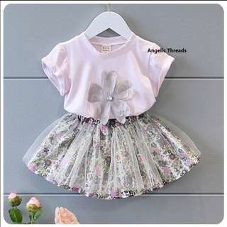 (Ready Stock KL) Girls Clothing Baby Clothing Shirt Skirt Toddler Kids Sleeveless Ribbon 5-7 Year