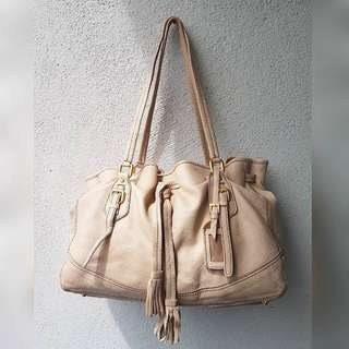 CREAM GENUINE LEATHER BAG