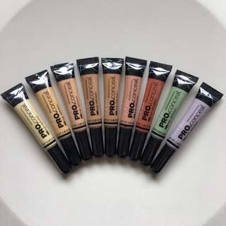 L.A. Girl PRO conceal HD High Definition Concealer LA Girl Green Yellow Beige Orange Peach Lavender