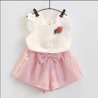 Ready Stock Girls Clothing Baby Girl Ribbon Blouse Pant Set Toddler Kids (1-6 Year)