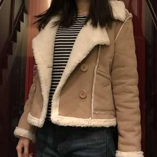 歐美駝色麂皮大衣外套 排扣 鹿皮 大翻領外套 羔羊毛 coat jacket