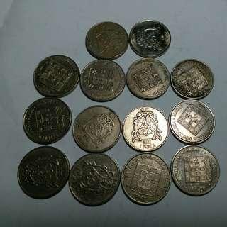1982澳門 硬幣 14個