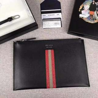 Prada Saffiano & Crocodile Leather Briefcase