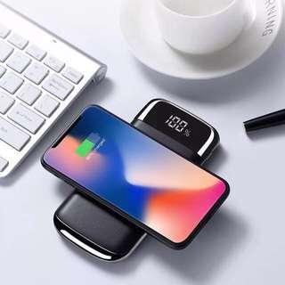 勁呀!一次同時可以叉三部電話!新商品!!100%全新現貨!JOYROOM 機樂堂 智能無線充電 + 雙USB輸出顯示尿袋 10000 mAh LED Screen Wireless Power Bank 充電寳 移動電源 iPhone X LG samsung 小米 華為 Nokia note 8